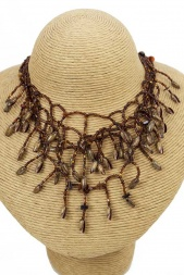 Brown Tone Multilayer Ethnic Style Necklace