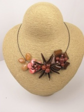 Leather and Semi Precious Stone Autumn Necklace