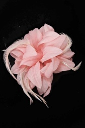 Light Pink Flower & Feather Clip Fascinator