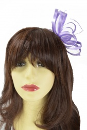 Lilac Satin Loop & Feather Comb Fascinator
