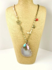 Long Agate Slice Necklace with Floral & Gold Chain with Charms