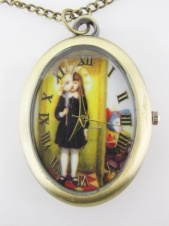 Long Antique Style Little Girl Picture Clock Necklace