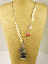 Long Birdcage Pendant Necklace with Pearls