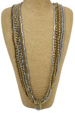 Gold & Silver Multi Layer Long Fashion Necklace