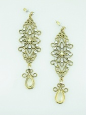 Long Gold and Crystal Ornate Fashion Earrings