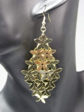 Long Gold Multi Funky Flower Dangly Fashion Earrings
