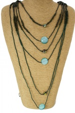 Long Green Multi Layer Necklace