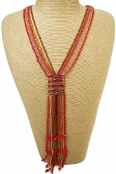 Long Red & Multicolour Strand Tassel Necklace