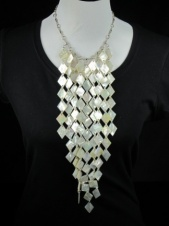 Long 925 Silver & Shell Fringe Quality Necklace