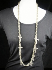 Long Silver Chain Cross Necklace