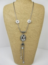 Long Silver Effect Y Shape Flower Necklace