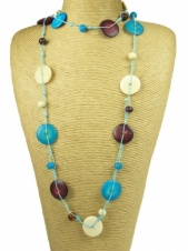 Long Turquoise, Cream and Burgundy Bone Bead Ethnic Necklace