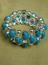 Elasticated Turquoise & Silver Fashion Bracelet