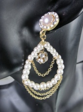 Gold Effect & Faux Pearl Loop Earrings with Crystals