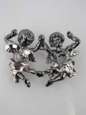 Majique Grey and Silver Cherubs Holding Hands Brooch