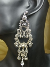 Ornate Large Marcasite & Crystal Long Earrings