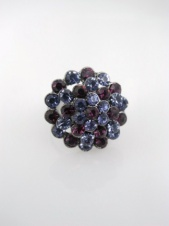 Majique Purple Tone Crystal Cluster Adjustable Costume Ring