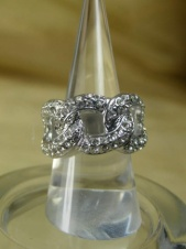 Majique Silver Effect and Crystal Designer Style Ring