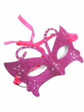 Pink Glitter Masquerade Mask with Ribbon Fastening