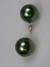 Metallic Green Large Round Stud Fashion Earrings