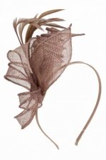 Mocha Brown Sinamay & Feather Hairband Fascinator