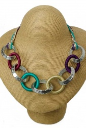 Trendy Green, Purple and Silver Ring Necklace