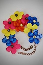 Acrylic Daisy Flower Multi Coloured Bracelet