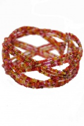 Wraparound Red & Multicolour Seed Bead Cuff