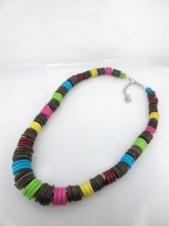 Multicolour Coco Rind Disc Graduated Necklace