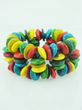 Multicolour Coco Rind Elasticated Bracelet