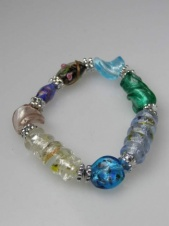 Multicolour Glass Bead Elasticated Fashion Bracelet