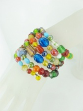 Multicolour Glass Bead Wraparound Coil Bracelet