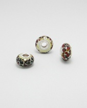 Multicolour Glass Charm Bead with Sterling Silver Core