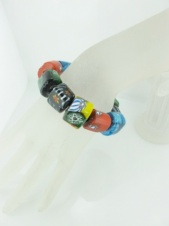 Multicolour Millefiori Glass Bead Elasticated Bracelet