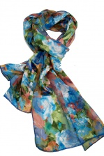 Turquoise & Floral Vintage Style Silky Scarf