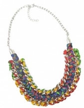 Silver & Multicolour Plaited Chunky  Necklace