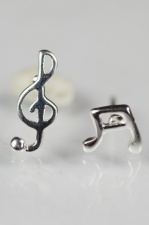 Sterling Silver Music Note Stud Earrings with Gift Box