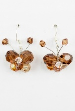 Brown Sparkling Crystal Butterfly Earrings with 925 Silver Hooks