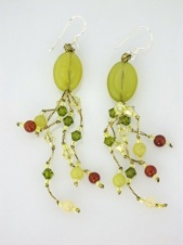 Green Semi Precious Stone & Crystal Long 925 Silver Earrings