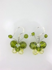 Nannapas Green Sparkling Crystal Butterfly Earrings
