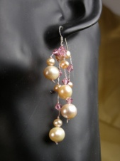 Pink Freshwater Pearls and Sparkling Crystal Fashion Earrings