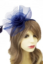Navy Blue Crinoline Flower Hairband Fascinator