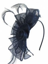 Navy Blue Sinamay Flower & Feather Hairband Fascinator