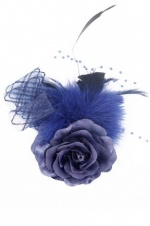 Navy Blue Pretty Rose & Feather Fascinator with Clip