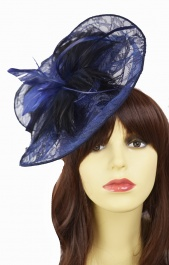 Navy Blue Lace Large Hairband Fascinator