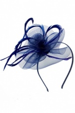 Navy Blue Crinoline Swirl Hairband Fascinator