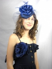 Navy Blue Fascinator and Matching Clutch Bag Set