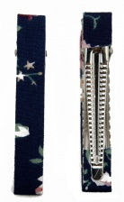 Pair of Navy Floral Fabric Pretty Crocodile Hair Clips