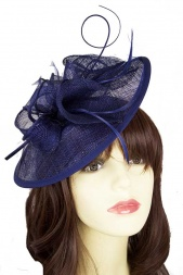 Navy Blue Sinamay Hat & Feather Hairband Fascinator
