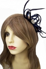 Navy Blue Satin Loop & Crystal Detail Comb Fascinator